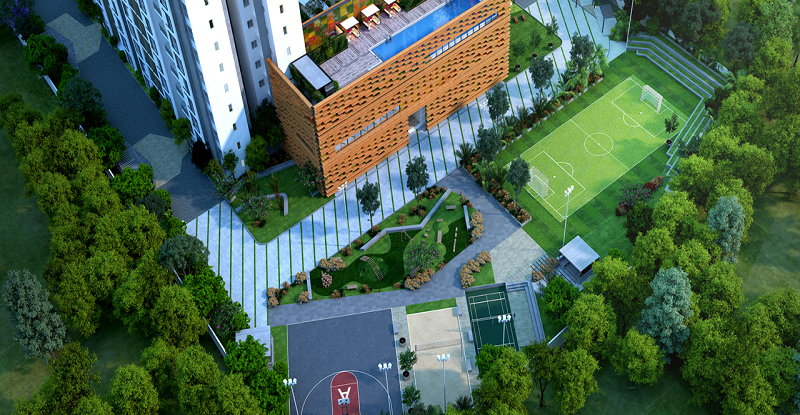 Aerial View of Amenities
